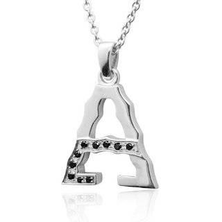 Mens Sterling Silver Alphabet Initial Letter A Black Diamond Pendant
