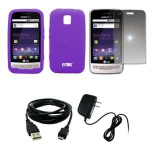 EMPIRE Purple Silicone Skin Case Cover + Mirror Screen