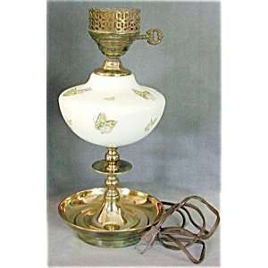 Vintage Milk Glass & Brass Painted Butterfly Table Lamp