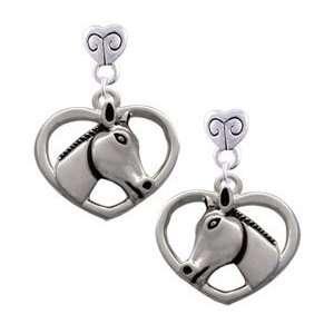 Heart with Horse Head Mini Heart Charm Earrings Arts