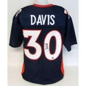 Autographed Terrell Davis Uniform   Navy Blue MM
