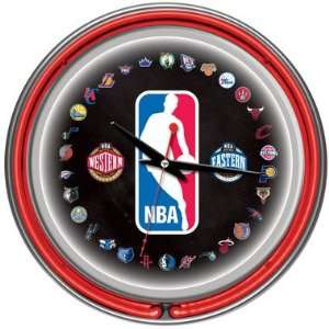 NBA Logo 30 Team Neon Clock: Sports & Outdoors