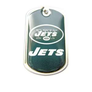 York Jets Dog Tag Domed Necklace Charm Chain NFL Sports & Outdoors