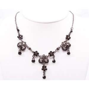 Intricate Black Austrian Crystal Necklace & Earring Set Jewelry
