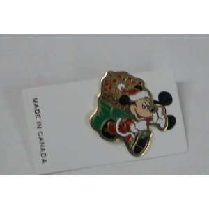 Vintage Enamel Pin Disney Mickey Mouse As Santa W/bag