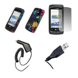 Paint Splatter Snap On Cover Case + Screen Protector + Car