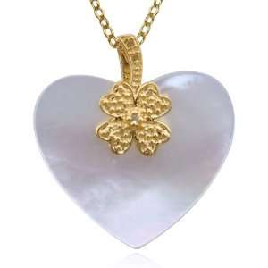 Silver Mother of Pearl and Diamond Accent Heart Pendant, 18 Jewelry
