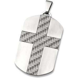 Mens Stainless Steel and Grey Cross Dog Tag Pendant Jewelry