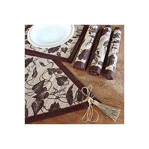 NOVICA Natural fiber table runner and placemats set, Bali Flora (set