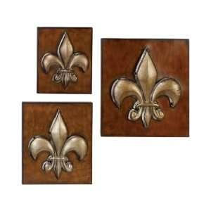 Set 3 Silver n Brown Fleur Li Dis Metal Wall Deco Plate