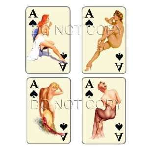 Vintage Ace of Spades pinup playing cards decals #207