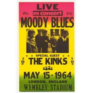 Moody Blues   The Kinks Concert Poster (1964) Wembley Stadium London