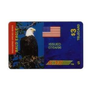 Card $3. American Bald Eagle Endangered Species S & USA Flag PROOF