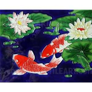 Decorative Ceramic Tile Art   Red Koi Fish Pair EF020