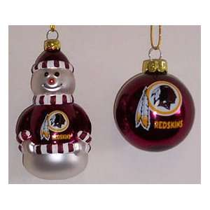 WASHINGTON REDSKINS NFL 2pk Snowman & Ball CHRISTMAS