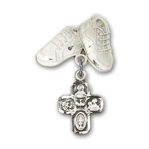 Silver Baby Badge with 4 Way Charm and Baby Boots Pin Jewelry