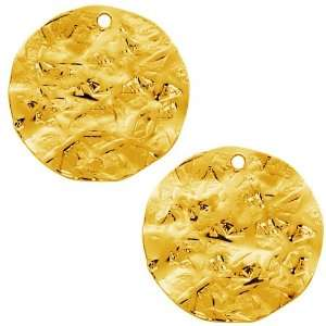 Antiqued Gold Plated Flat Round Textured Disc Pendant Bead