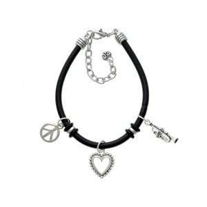 Trombone Black Peace Love Charm Bracelet [Jewelry