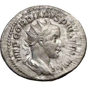 GORDIAN III 244AD Authentic Ancient Silver Roman Coin MARS