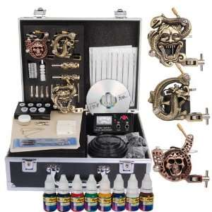 Divine Skull Series 3 Guns Tattoo Tattooing Accessories Kit Machine