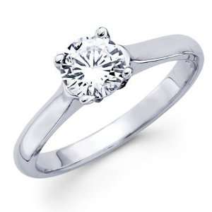 14K White Gold Round Diamond Solitaire Rings Jewelry