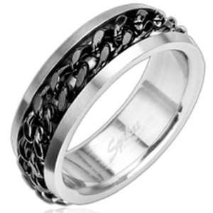 Size 9  Spikes 316L Stainless Steel Black Chain Ring