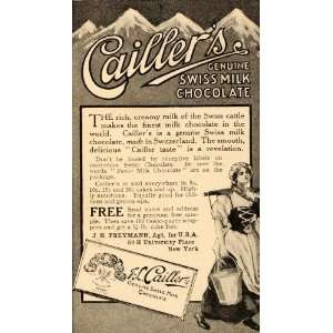 1909 Ad Caillers Candy Swiss Milk Chocolate Nestle Alps