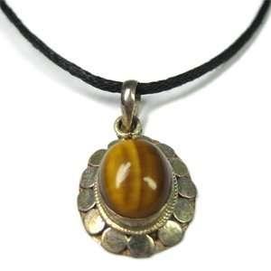 Tibetan Silver Pendant   Tigers Eye II