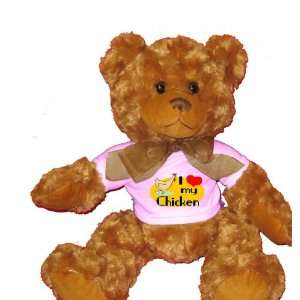 Love My Chicken Plush Teddy Bear with WHITE T Shirt Toys & Games
