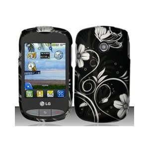 LG 800g (TracFone) White Flowers Design Snap On Hard Case