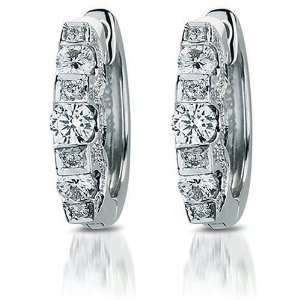 18k White Gold Round Diamond Pave Hoop Earrings (3/4 cttw, H I Color