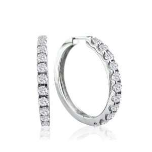 14k White Gold Diamond Hoop Earrings (3/4 cttw, I J Color