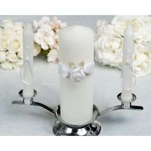 Organza and Satin Rose Wedding Unity Candle