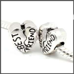 Antiqued Silver  Best Friends  Bead Charm Spacer Pandora Troll