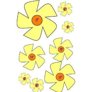 8 Yellow & Orange Daisy Flowers   Etched Vinyl Stained Glass