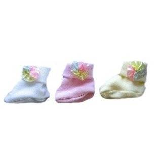 White Booties with Pink Bow Heart Clothing