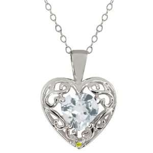 1.01 Ct Heart Shape Sky Blue Topaz Canary Diamond 10K
