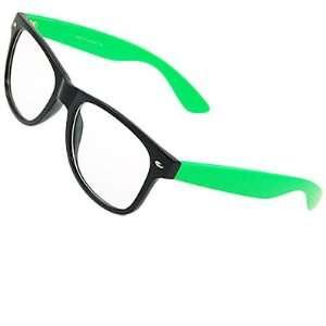 Como Woman Man Green Arms Single Bridge Clear Lens Glasses