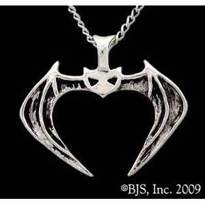 Vampire Bat Pendant, 14k White Gold, 18 Silver Cable Chain, Vampire