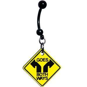 Yellow Goes Both Ways Warning Sign Belly Ring Jewelry