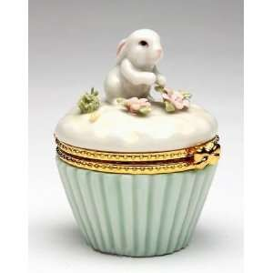 Porcelain Blossom Bunny Collectible   Bunny Hingebox