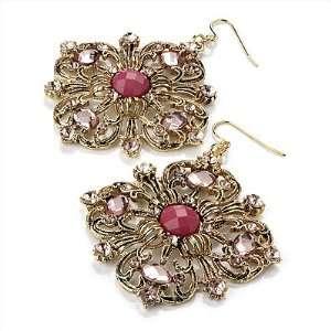 Jeweled Filigree Drop Earrings (Burn Gold & Pink)   7cm Drop Jewelry