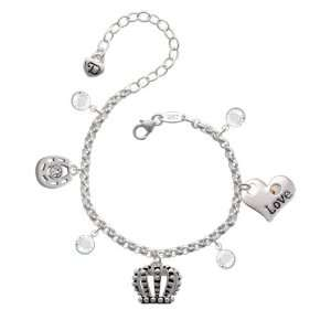 Crown Love & Luck Charm Bracelet with Clear Swarovski Crystals