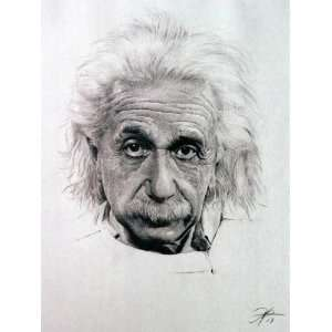 Albert Einstein Sketch Portrait, Charcoal Graphite Pencil