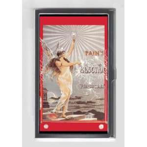 ELECTRIC FIREWORKS SEXY GIRL c1900 RETRO AD Credit/Business Card Case