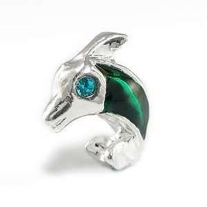 Green Dolphin with Crystal Eye European Bead Charm, Pandora Bead