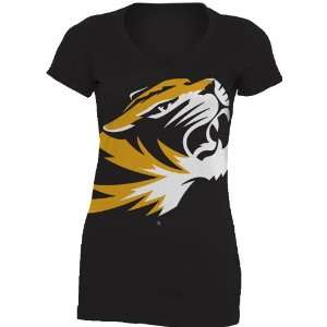 NCAA Missouri Tigers Gigantor Ladies V Neck Tee Shirt