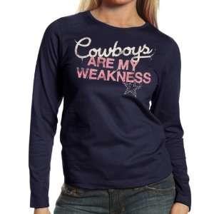 NFL Dallas Cowboys Ladies My Weakness Long Sleeve T Shirt   Navy Blue