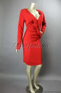 2950 New with Tags VALENTINO Sexy Red Stretchy Ruffle Textured Dress
