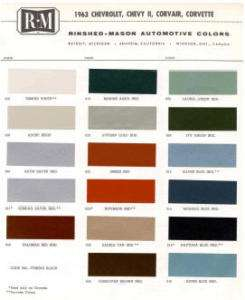 1963 CHEVY PAINT COLOR SAMPLE CHIPS CARD OEM COLORS